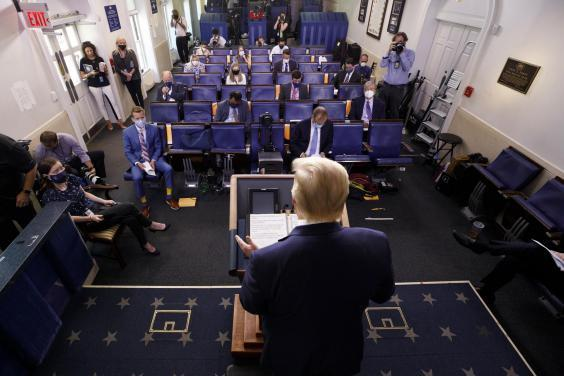 Donald Trump holds press briefing at the White House (AP)