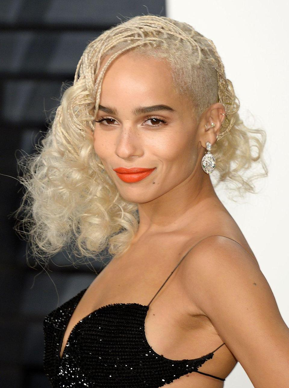 <p>Even though she's now the proud owner of a pixie crop, we still love Zoe Kravtiz's bleached braids.</p>