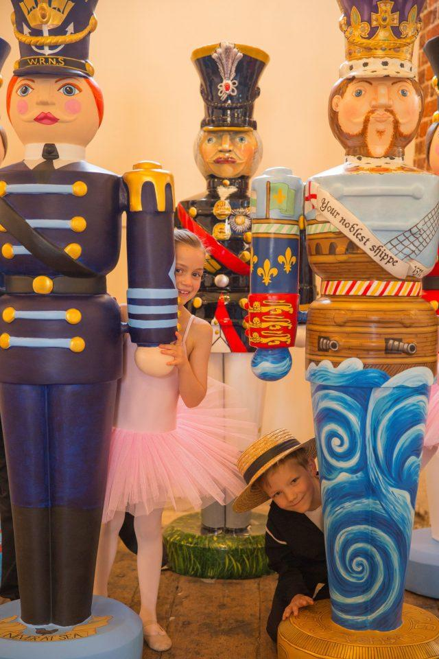 Life-sized nutcrackers of a Navy Wren, Lord Nelson and Henry VIII at the National Museum of the Royal Navy at Portsmouth Historic Dockyard. (Chris Stephens/PA)