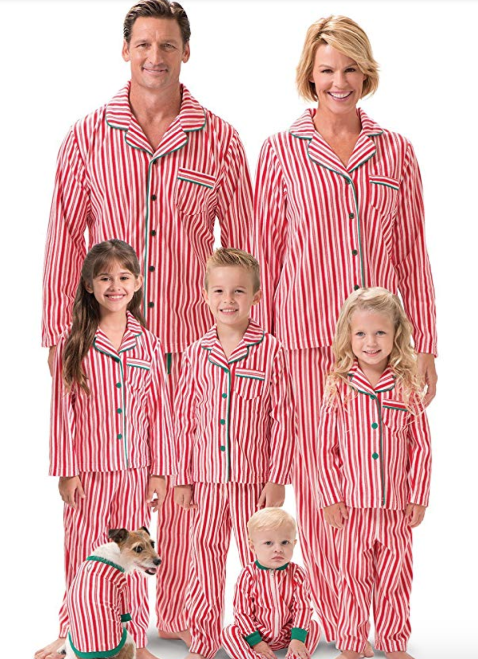 """<p><strong>PajamaGram</strong></p><p>Starting from $20</p><p><a href=""""https://www.amazon.com/dp/B00QVNM7Z6?tag=syn-yahoo-20&ascsubtag=%5Bartid%7C10055.g.4946%5Bsrc%7Cyahoo-us"""" rel=""""nofollow noopener"""" target=""""_blank"""" data-ylk=""""slk:Shop Now"""" class=""""link rapid-noclick-resp"""">Shop Now</a></p><p>Candy canes are arguably the best treat to have on Christmas, so why not dress the whole family up in stripes? </p>"""