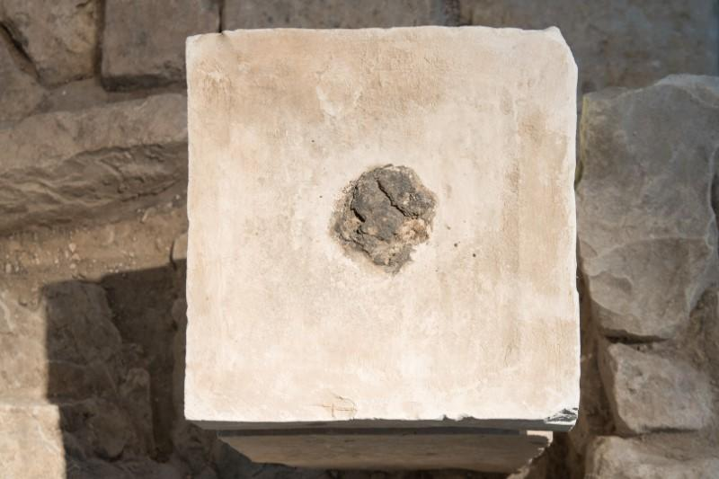 The top of an altar from an ancient Israelite shrine, on which Israeli researchers say residues of cannabis and animal dung have been found, is seen on display at Israel Museum in Jerusalem