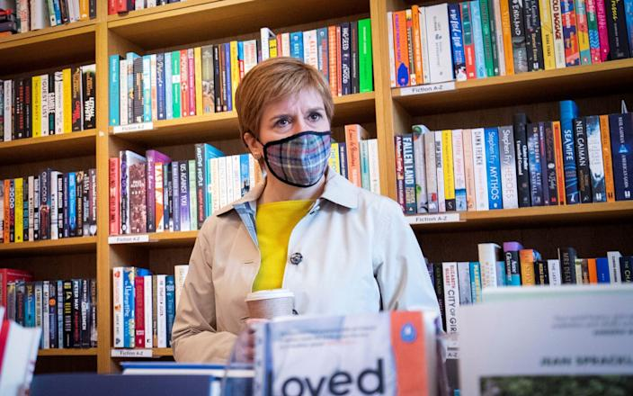 Nicola Sturgeon, visits The Edinburgh Book Shop as she campaigns for the Scottish parliamentary election - Jane Barlow/Reuters
