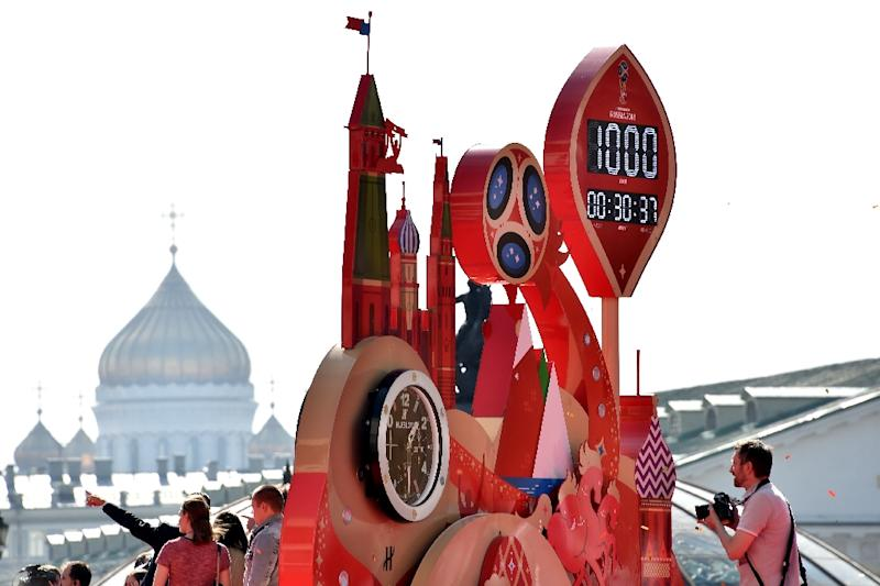 Officials and footballers start the 1,000-day countdown to the 2018 FIFA World Cup in Moscow on September 18, 2015