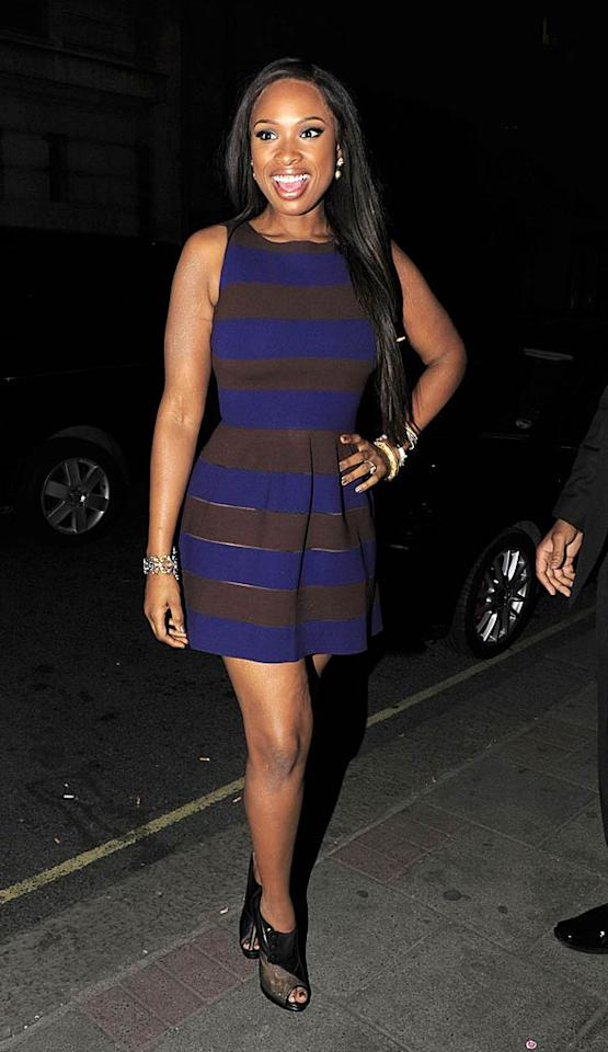 """Jennifer Hudson has looked amazing while promoting her new album across the U.K., but my favorite look of hers is one of the simplest. While returning to the May Fair Hotel, the multi-talented star posed for pics in a striped Issa dress, Nicholas Kirkwood ankle boots, and Matthew Campbell Laurenza jewelry.   Follow 2 Hot 2 Handle creator, <a href=""""http://bit.ly/lifeontheMlist"""" target=""""new"""">Matt Whitfield</a>, on Twitter! Optic Photos/<a href=""""http://www.pacificcoastnews.com/"""" target=""""new"""">PacificCoastNews.com</a> - April 20, 2011"""