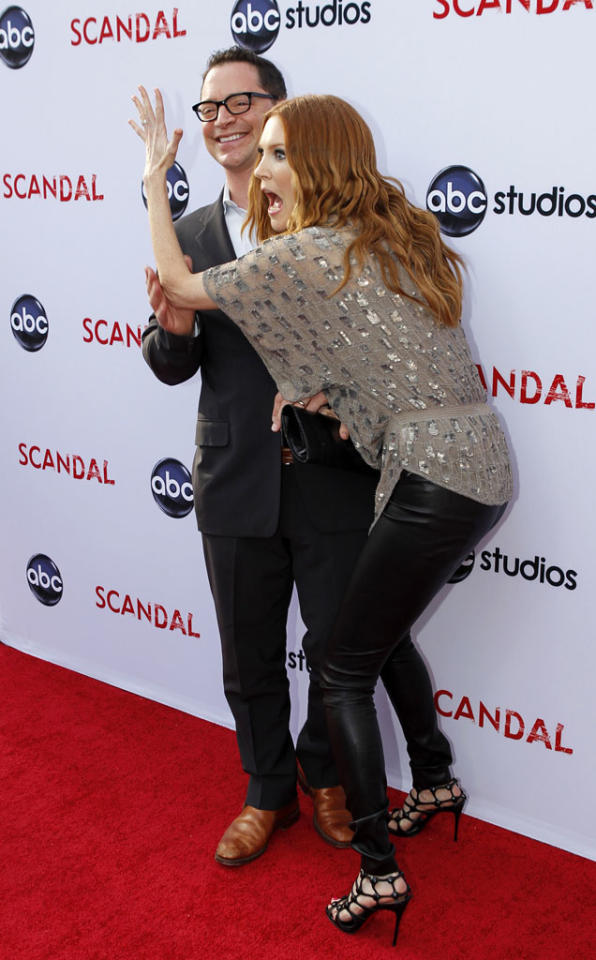 """Joshua Malina And Darby Stanchfield attend """"An Evening with Scandal"""" at The Academy of Television Arts & Sciences for their season finale table read and Q&A on Thursday, May 16, 2013."""
