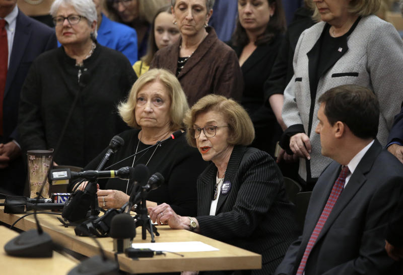 """Mass. state Sen. Harriette Chandler, D-Worcester, seated center, testifies in favor of a proposed bill, called the """"Roe Act"""" by supporters, as Mass. state Rep. Patricia Haddad, D-Bristol, seated left, and Mass. state Rep. Jay D. Livingstone, D-Boston, right, look on during a public hearing at the Statehouse, Monday, June 17, 2019, in Boston. Proponents on both sides of the abortion issue testified during the public hearing on a bill that would let women obtain an abortion after 24 weeks of pregnancy in cases of """"fatal fetal anomalies."""" (AP Photo/Steven Senne)"""