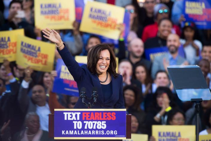 Harris at a rally launching her presidential campaign on Jan. 27, 2019, in Oakland. (Noah Berger/AFP via Getty Images)