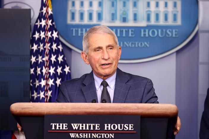 Dr. Anthony Fauci, Director of the National Institute of Allergy and Infectious Diseases, speaks during a White House Coronavirus Task Force press briefing in the James Brady Press Briefing Room at the White House on November 19, 2020 in Washington, DC. (Tasos Katopodis/Getty Images)