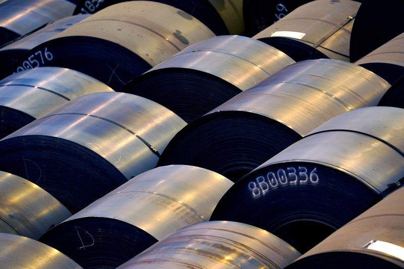 FILE PHOTO: Steel rolls are lined up at the ArcelorMittal steel plant in Sestao