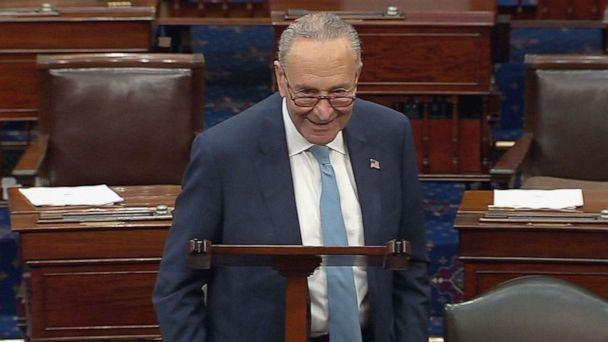 PHOTO: Senate Majority Leader Chuck Schumer speaks at the U.S. Capitol, Oct. 7, 2021 in Washington, D.C. Senate Democrats and Republicans reached a deal that will temporarily raise the debt ceiling through early December. (ABC News)