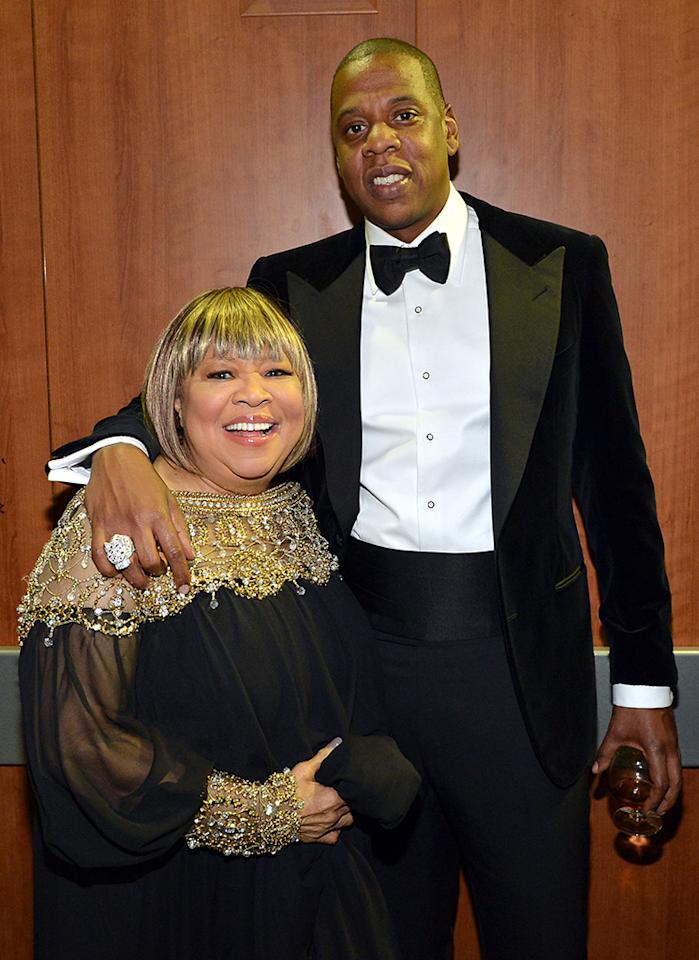 LOS ANGELES, CA - FEBRUARY 10:  Singer Mavis Staples (L) and rapper Jay-Z attend the 55th Annual GRAMMY Awards at STAPLES Center on February 10, 2013 in Los Angeles, California.  (Photo by Rick Diamond/WireImage)