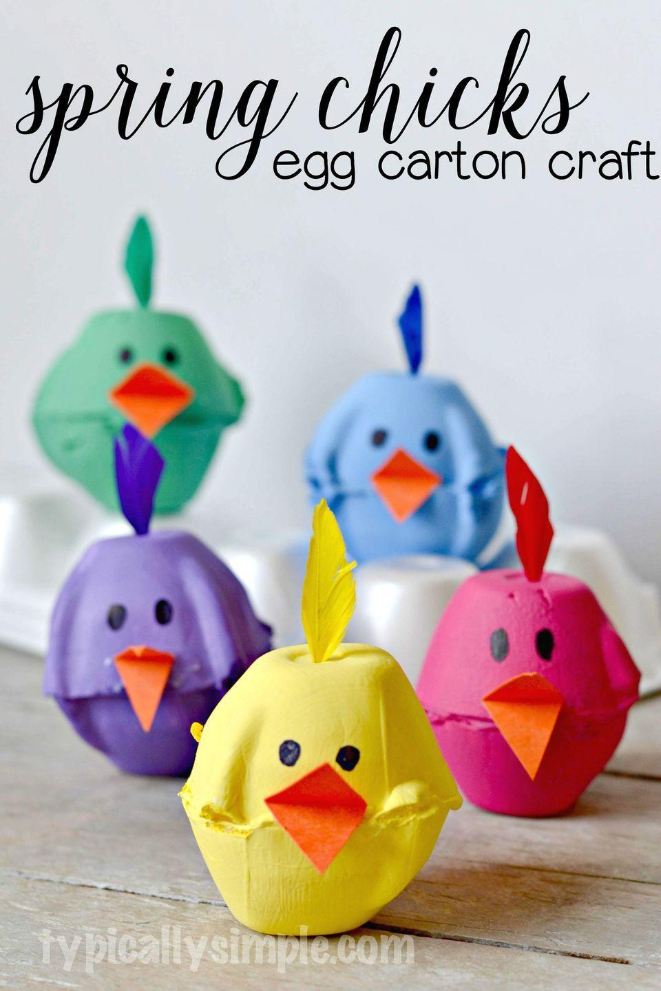 """<p>Use egg cartons to make these colorful spring chicks, topped with a tiny colorful feather!</p><p><strong>Get the tutorial at <a href=""""http://typicallysimple.com/spring-chicks-egg-carton-craft/"""" rel=""""nofollow noopener"""" target=""""_blank"""" data-ylk=""""slk:Typically Simple"""" class=""""link rapid-noclick-resp"""">Typically Simple</a>.</strong></p>"""