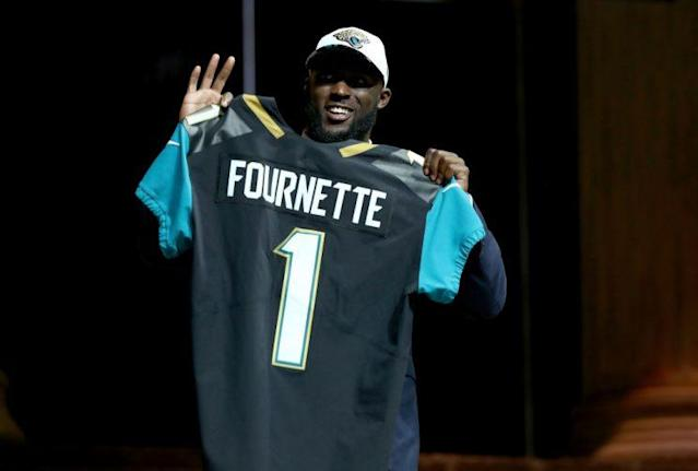 Leonard Fournette is the new offensive centerpeice in Jacksonville. (Photo by Elsa/Getty Images)