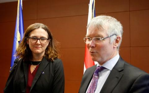European Union Trade Commissioner Cecilia Malmstrom, left, meets with New Zealand Trade Minister David Parker  - Credit: AP