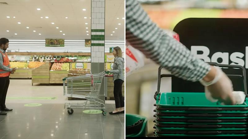 Left, a shopper is seen waiting to enter a store. Right, an employee wipes down baskets. Source: Woolworths