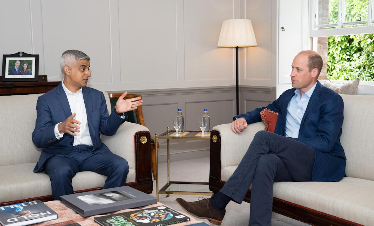 LONDON, ENGLAND - UNDATED: In this undated handout photo provided by Kensington Palace,  Prince William, Duke of Cambridge meets with the Mayor of London Sadiq Khan at Kensington Palace in London, England. The Earthshot Prize will hold its first-ever awards ceremony at Alexandra Palace on 17 October, featuring other famous landmarks across the UK's capital city as part of the historic event. Founded by Prince William in 2020 and inspired by President Kennedy's 'Moonshot', The Earthshot Prize is a global environmental prize which aims to discover and scale the best solutions to help repair our planet over the next 10 years. Every year from 2021 until 2030, The Earthshot Prize will find and reward inclusive solutions to five 'Earthshot' goals - Protect and restore nature; Clean our air; Revive our oceans; Build a waste-free world; and Fix our climate. Prize winners will each receive a £1 million prize fund and tailored support to scale their solutions. The finalists will be announced in July.  The Mayor of London, Sadiq Khan said he welcomes The Earthshot Prize awards to London, the first international city to host the ceremony.  (Photo by Kensington Palace via Getty Images)