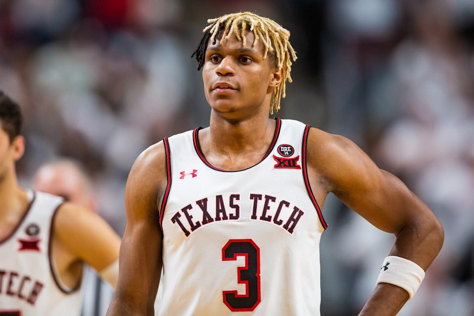 Guard Jahmi'us Ramsey #3 of the Texas Tech Red Raiders stands on the court during the second half of the college basketball game against the Kansas Jayhawks on March 07, 2020
