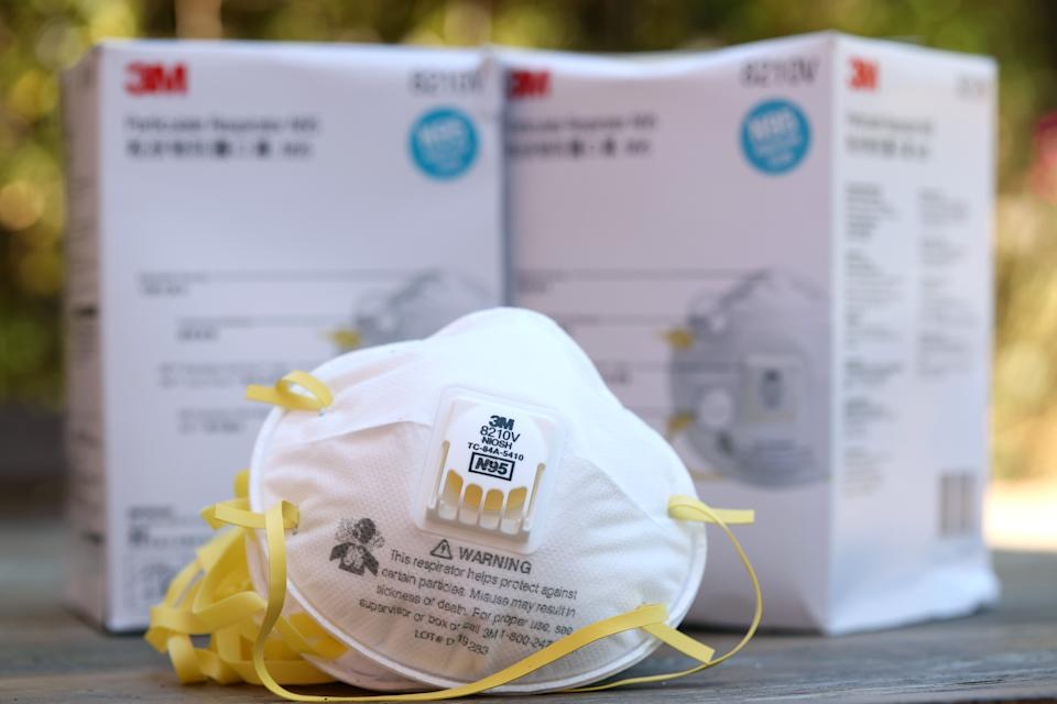 3M brand N95 particulate respirators are displayed on a table on July 28, 2020 in San Anselmo, California. (Justin Sullivan/Getty Images)
