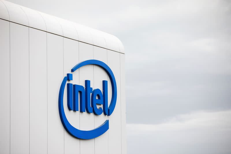 "FILE PHOTO: U.S. chipmaker Intel Corp's logo is seen on their ""smart building"" in Petah Tikva, near Tel Aviv"