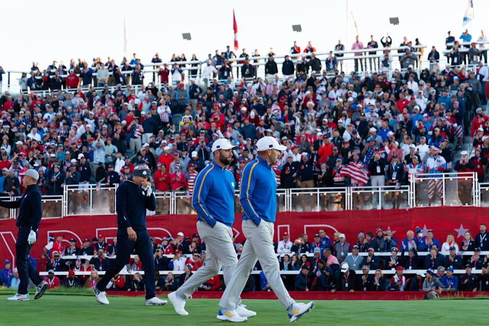 KOHLER, WI - SEPTEMBER 24: Jon Rahm of Spain and team Europe and Sergio Garcia of Spain and team Europe on the first hole during the AM Foursome Matches for the 2020 Ryder Cup at Whistling Straits on September 24, 2021 in Kohler, WI. (Photo by Montana Pritchard/PGA of America)