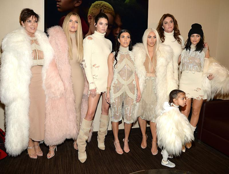 The KarJenner family attends Kanye West's Yeezy fashion show in 2016. (Photo: Kevin Mazur via Getty Images)