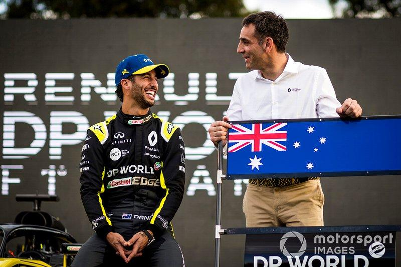 "Daniel Ricciardo, Renault F1 with Cyril Abiteboul, Managing Director, Renault F1 Team <span class=""copyright"">Sam Bloxham / Motorsport Images</span>"