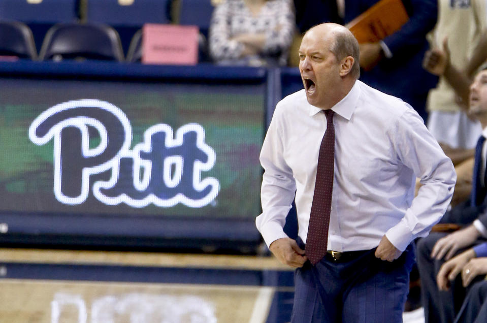 Pittsburgh coach Kevin Stallings reacts to a foul call as his team plays agianst Wake Forest during the second half of an NCAA college basketball game Wednesday, Feb. 21, 2018, in Pittsburgh. Wake Forest won 63-57. (AP Photo/Keith Srakocic)