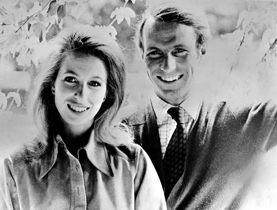 LONDON, UNITED KINGDOM - NOVEMBER 3:  An official portrait of Britain's Princess Anne and Captain Mark Phillips taken 03 November 1973, one week before their wedding.  (Photo credit should read STF/AFP via Getty Images)