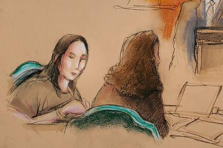 FILE PHOTO: Yujing Zhang (L), charged with bluffing her way into President Donald Trump's Florida resort, appears  at her hearing at the U.S. federal court in this courtroom sketch, in West Palm Beach, Florida, U.S., April 8, 2019.  REUTERS/Daniel Pontet