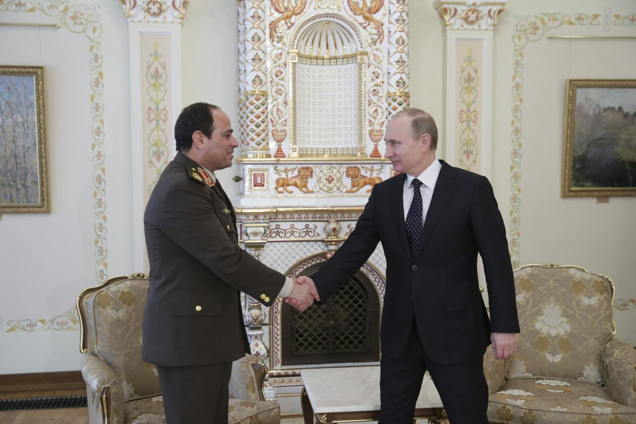 Russian President Vladimir Putin (R) shakes hands with Egypt's Army chief Field Marshal Abdel Fattah al-Sisi looks during their meeting at the Novo-Ogaryovo state residence outside Moscow, February 13, 2014. REUTERS/Mihail Metzel/RIA Novosti/Kremlin (RUSSIA - Tags: POLITICS MILITARY) ATTENTION EDITORS - THIS IMAGE HAS BEEN SUPPLIED BY A THIRD PARTY. IT IS DISTRIBUTED, EXACTLY AS RECEIVED BY REUTERS, AS A SERVICE TO CLIENTS