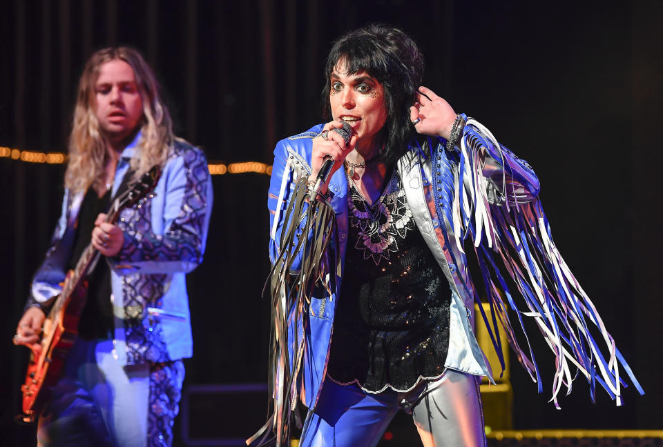SAN FRANCISCO, CA - MARCH 03: (R-L) Luke Spiller and Adam Slack of The Struts perform at The Warfield on March 3, 2020 in San Francisco, California.  (Photo by Steve Jennings/WireImage)