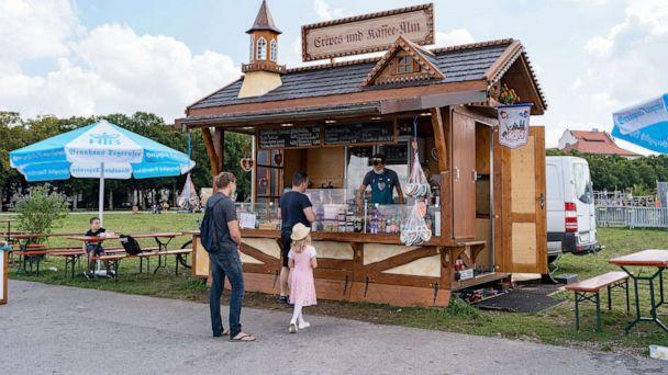 PHOTO: Instead of thousands of workers prepping for Oktoberfest at the Theresienwiese site, only two food stands now greet visitors. (Miguel Florencio/ABC News)