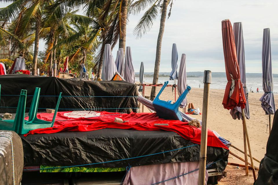 Closed beach bar and surf rent during local restriction amid COVID-19 in Kuta.