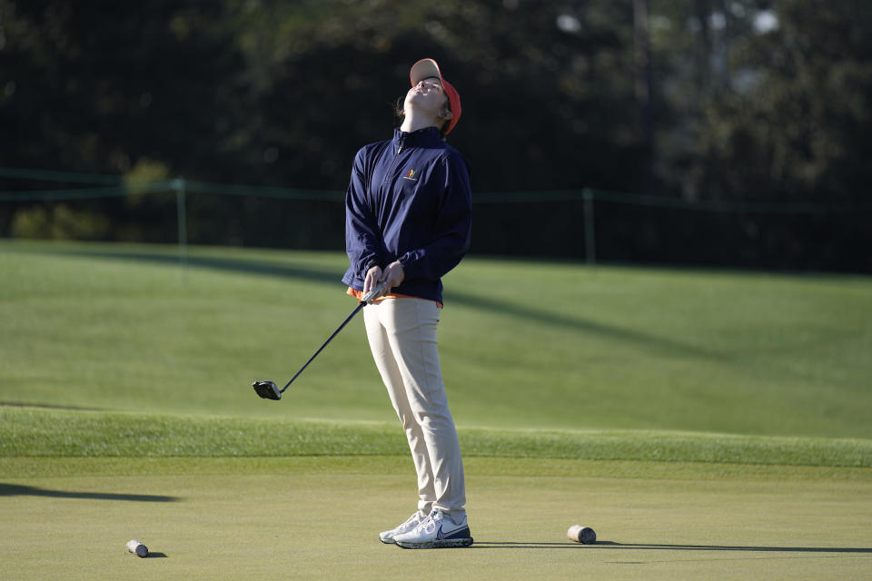 Samantha Straight, of Lewisville, Texas, reacts to her putt during the Drive Chip & Putt National Finals at Augusta National Golf Club, Sunday, April 4, 2021, in Augusta, Ga. (AP Photo/David J. Phillip)