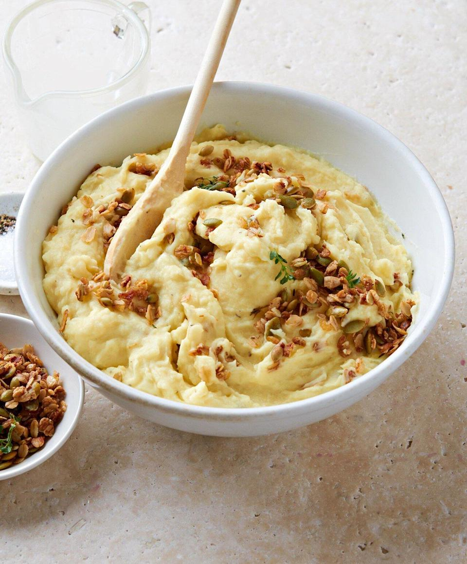 This holiday recipe will widen your view on granola. Oats and pumpkin seeds go savory instead of sweet when flavored with cheese and Worcestershire sauce, then sprinkled on top of mashed potatoes.