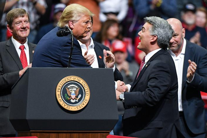 Sen. Cory Gardner (R-Colo.) joined President Donald Trump on stage during a Keep America Great rally in February in Colorado Springs. With Gardner facing a tough reelection bid this year, Trump didn't do him any favors this week by nominating an extreme anti-environmentalist to head the Bureau of Land Management. (Photo: Michael Ciaglo via Getty Images)