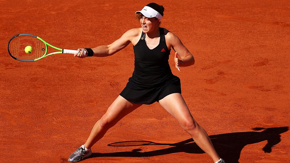 Jelena Ostapenko, pictured here in action against Sofia Kenin at the French Open.