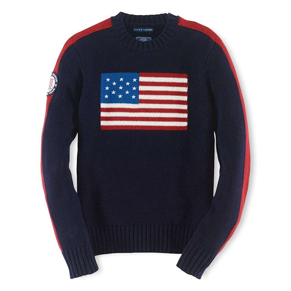This product image provided by Ralph Lauren shows an American flag sweater, part of the official gear of the U.S. Olympic team. Every article of clothing made by Ralph Lauren for the U.S. Olympic athletes in Sochi, Russia, has been made by domestic craftsman and manufacturers. (AP Photo/Ralph Lauren)