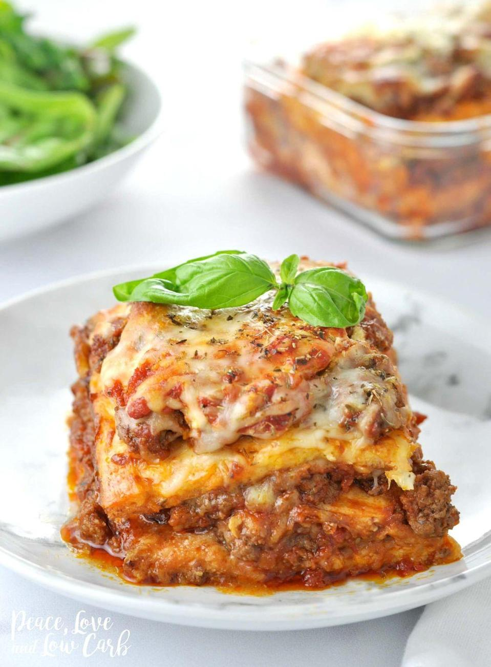 """<p>It tastes just like the real deal.</p><p>Get the recipe from <a href=""""https://peaceloveandlowcarb.com/just-like-the-real-thing-lasagna/"""" rel=""""nofollow noopener"""" target=""""_blank"""" data-ylk=""""slk:Peace, Love, and Low-Carb"""" class=""""link rapid-noclick-resp"""">Peace, Love, and Low-Carb</a>.<br></p>"""