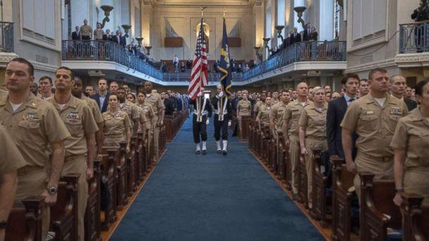 PHOTO: Cryptologic Warfare Group 6's ceremonial honor guard personnel present the colors at a memorial held for Shannon M. Kent's honor. The memorial was held at the U.S. Naval Academy in Annapolis, Md., Feb. 8, 2019. (U.S. Navy )