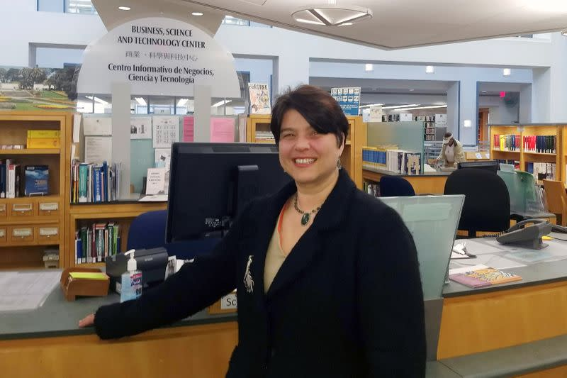 Jana De Brauwere poses at the main public library in San Francisco