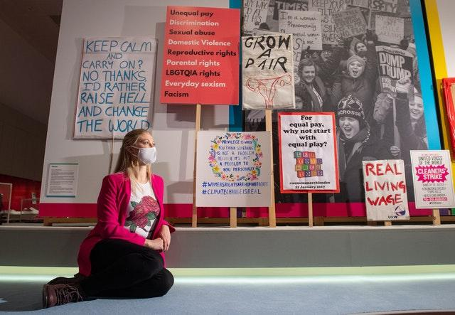 Placards from the 2017 Women's March, and demonstrations in 2019 at a preview of Unfinished Business: The Fight for Women's Rights