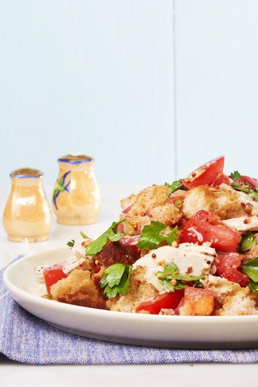 """<p>Technically, you're having salad for dinner (no one needs to know about the bread).</p><p><a href=""""https://www.goodhousekeeping.com/food-recipes/easy/a33584/easy-chicken-panzanella-recipe/"""" rel=""""nofollow noopener"""" target=""""_blank"""" data-ylk=""""slk:Get the recipe for Easy Chicken Panzanella »"""" class=""""link rapid-noclick-resp""""><em>Get the recipe for Easy Chicken Panzanella »</em></a></p>"""