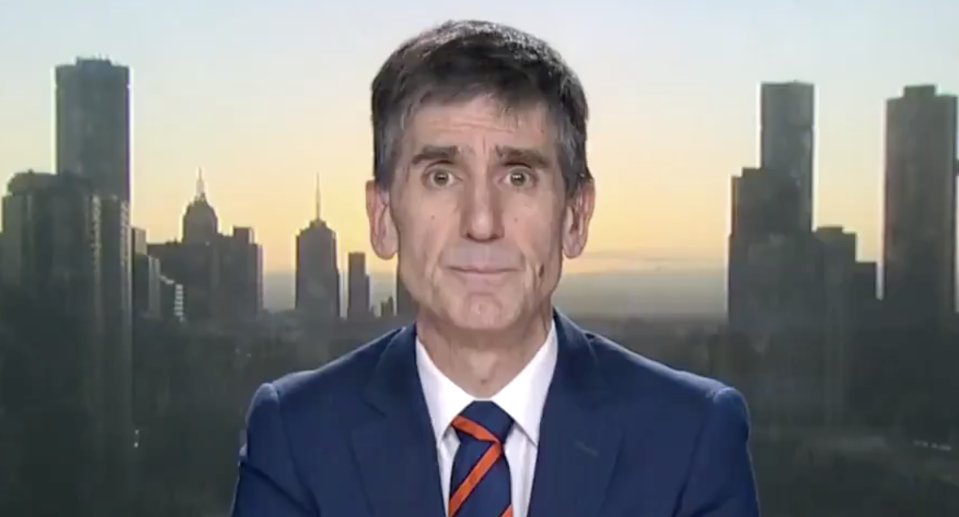Dr Tony Bartone, president of the Australian Medical Association, is pictured in a Today show interview.