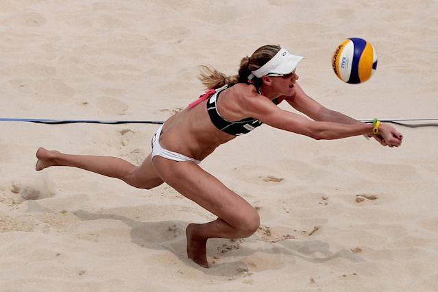 BEIJING, CHINA - JUNE 09: Kerri Walsh of USA digs the ball during the Women's group matches at the 2011 Swatch World Tour Beijing Grand Slam in Chaoyang Park on June 9, 2011 in Beijing, China. (Photo by Lintao Zhang/Getty Images)