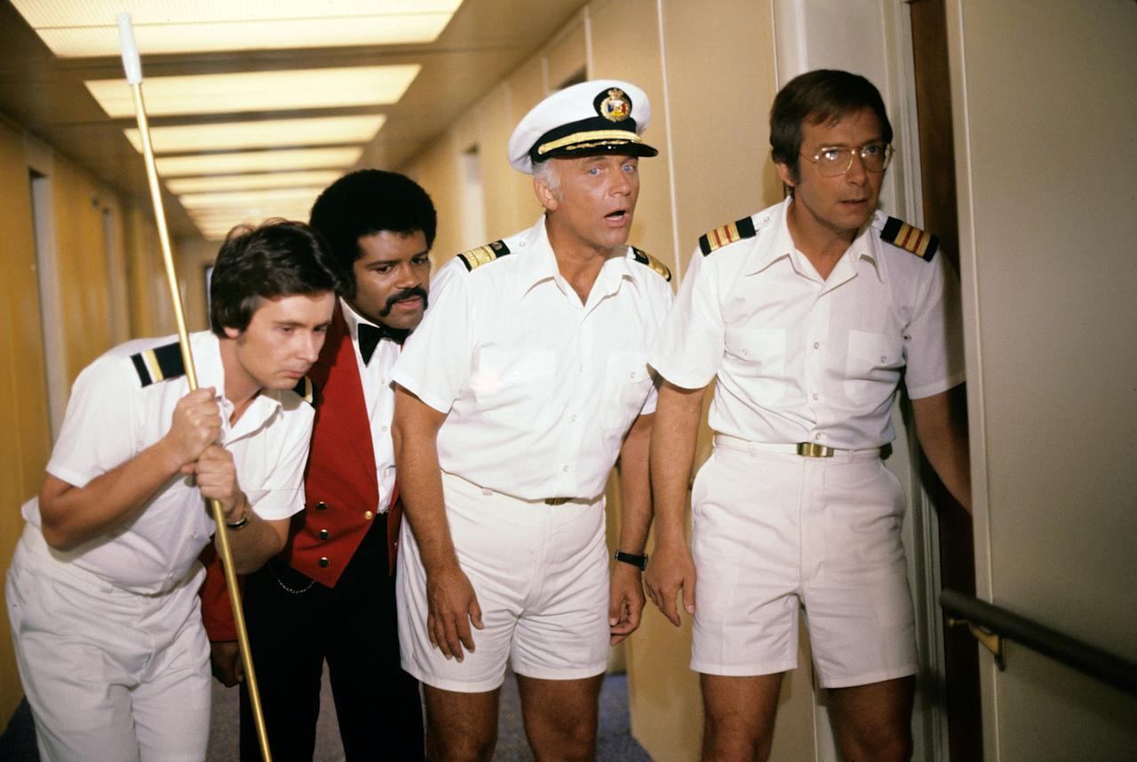 "Fred Grandy, Ted Lange, Gavin MacLeod, and Bernie Kopell in ""The Love Boat"" episode, ""The Captain's Captain."""