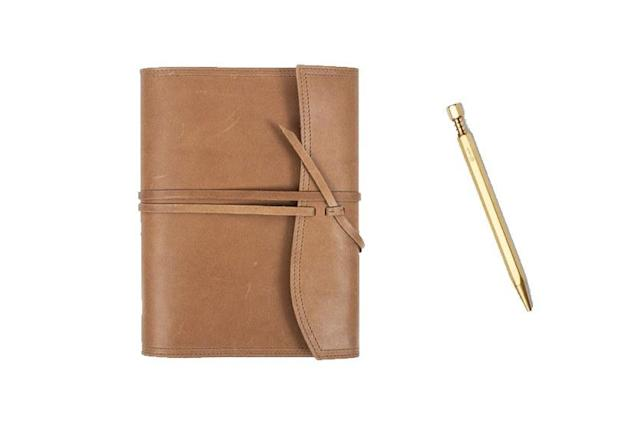 "<p>For the dad who loves stationary items, treat him to this German leather wrap journal from Leatherology. The adjustable leather strap closure and unlined leather interior gives it a luxe feel and you can get it monogramed for the perfect extra touch. Pair it with the YStudio Ballpoint Pen from Kohezi. It's made of brass in a ultra modern, minimalist design that is sure to impress.</p> <p><strong><a href=""https://www.leatherology.com/medium-wrap-journal-tan-leather-dark-caramel/"" rel=""nofollow noopener"" target=""_blank"" data-ylk=""slk:Leatherology Medium Wrap Journal"" class=""link rapid-noclick-resp"">Leatherology Medium Wrap Journal</a></strong>/$90<br> <strong><a href=""https://www.kohezi.com/collections/pens-pencils/products/ystudio-ballpoint-pen-classic"" rel=""nofollow noopener"" target=""_blank"" data-ylk=""slk:YStudio Ballpoint Pen from Kohezi"" class=""link rapid-noclick-resp"">YStudio Ballpoint Pen from Kohezi</a></strong>/$82</p>"