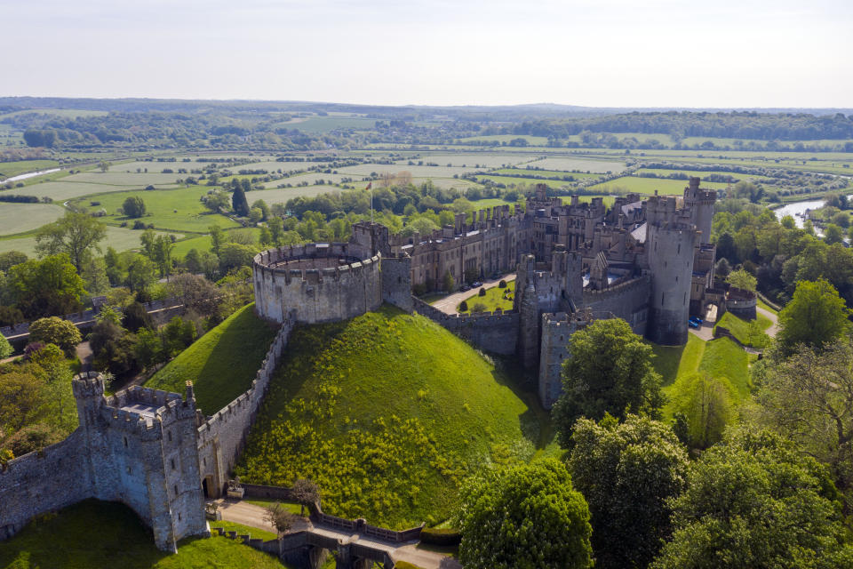 Arundel Castle in Sussex, as the UK enjoys warm temperatures and bright sunshine over the bank holiday weekend.