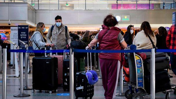 PHOTO: Travelers check-in for an El Al flight to Israel at Los Angeles International Airport (LAX) amid increased Covid-19 travel restrictions, Jan. 25, 2021 in Los Angeles. (Patrick T. Fallon/AFP via Getty Images, FILE)