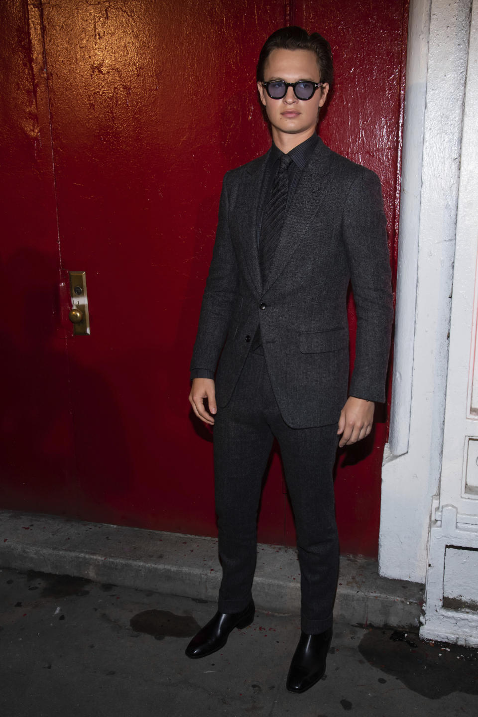 Ansel Elgort arrives to the Tom Ford show during Fashion Week on Monday, Sept. 9, 2019 in New York. (Photo by Charles Sykes/Invision/AP)